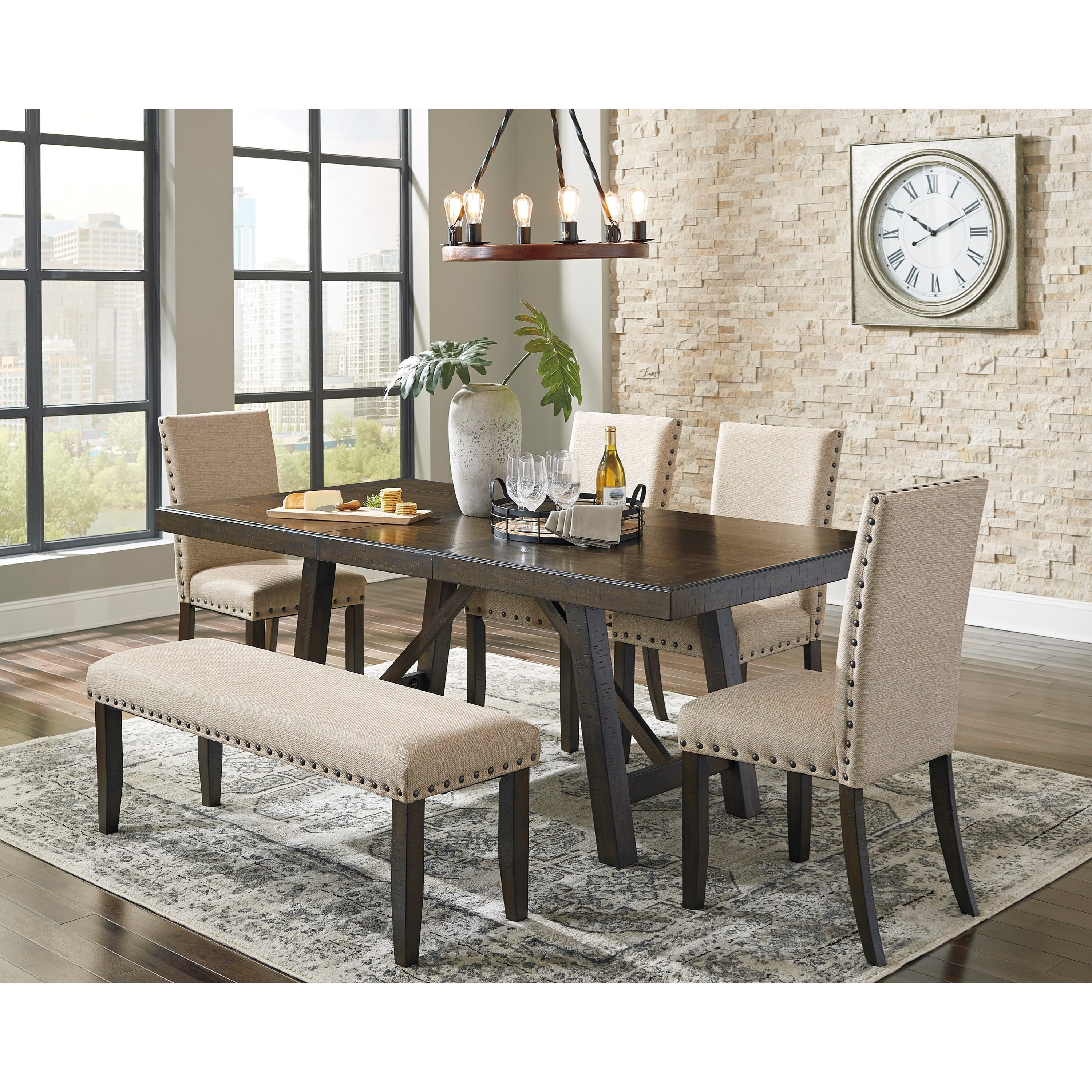 Ashley Signature Design Rokane Dining Table Set For Six With Bench Dunk Bright Furniture Table Chair Set With Bench