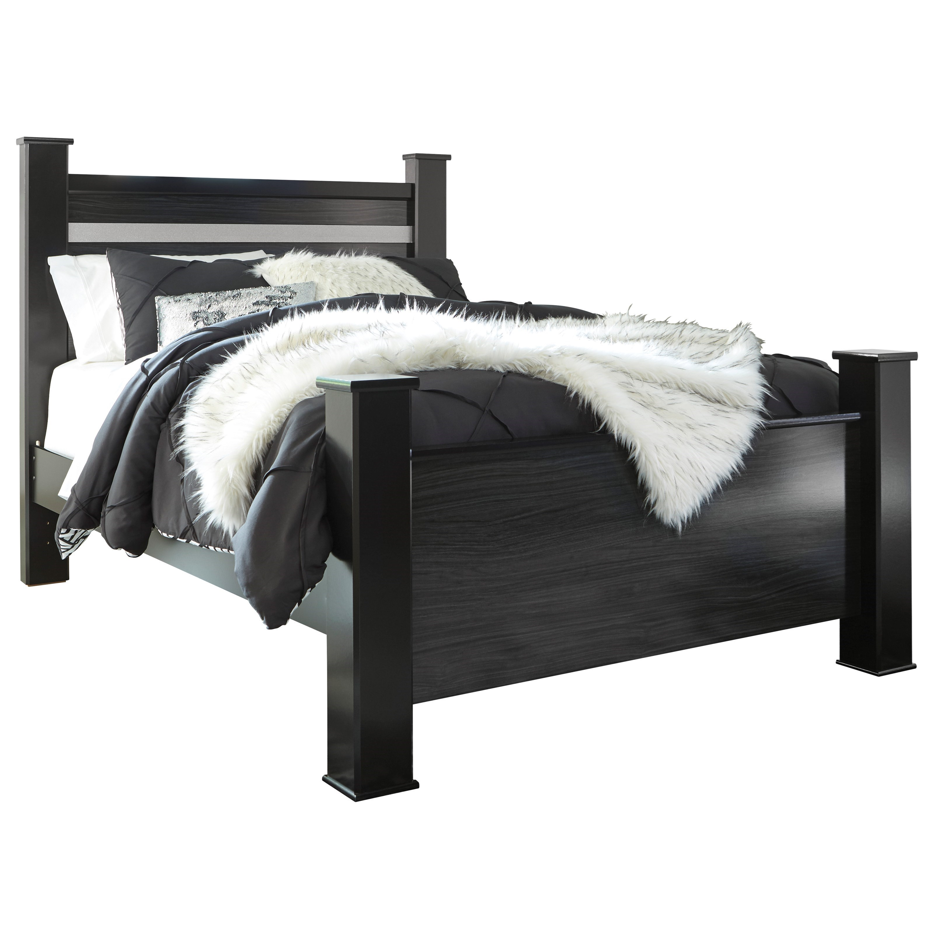Signature Design By Ashley Starberry Black Finish Queen Poster Bed With Glitter Accent Panel Royal Furniture Panel Beds