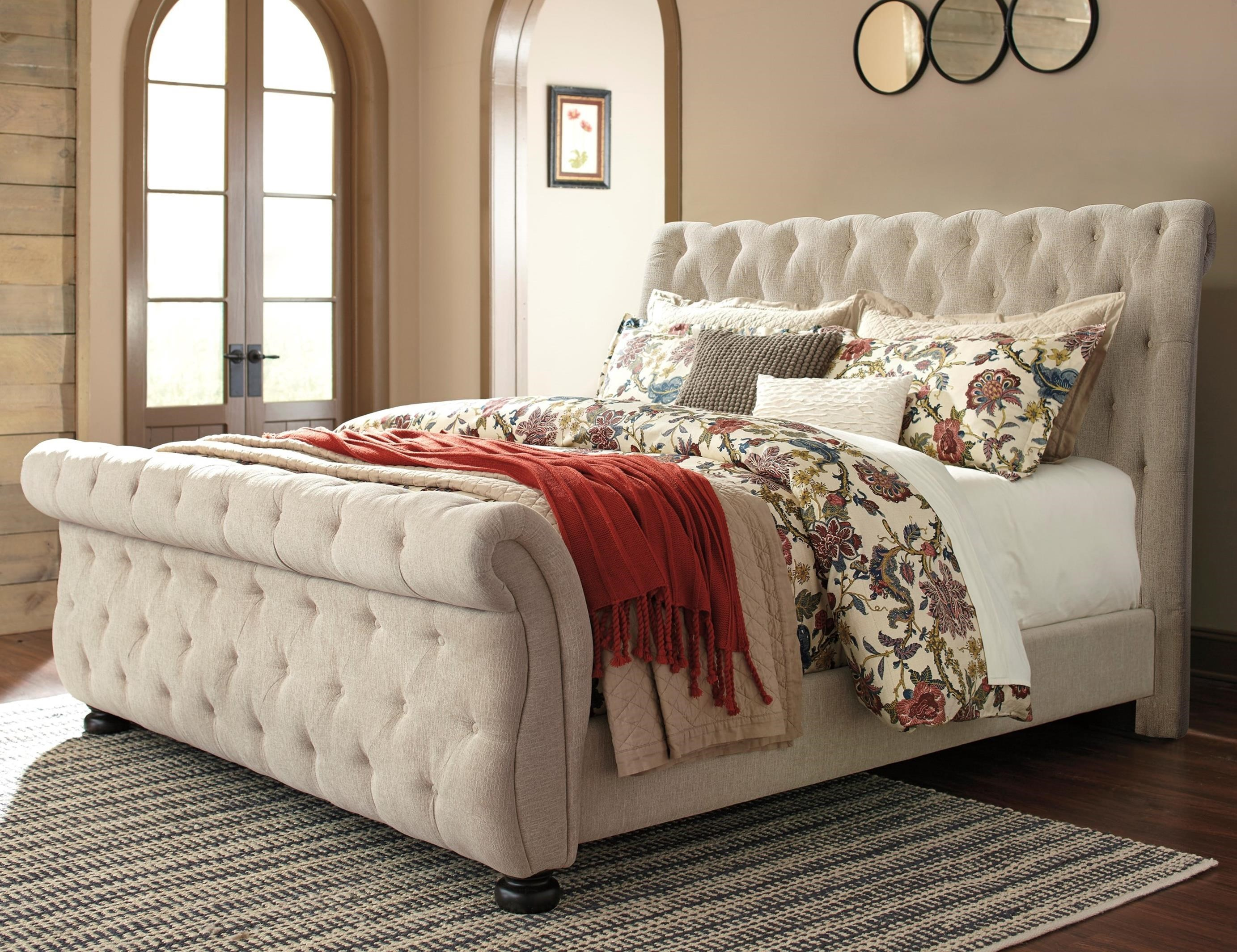 Signature Design By Ashley Willenburg King Upholstered Sleigh Bed With Tufting Royal Furniture Upholstered Beds