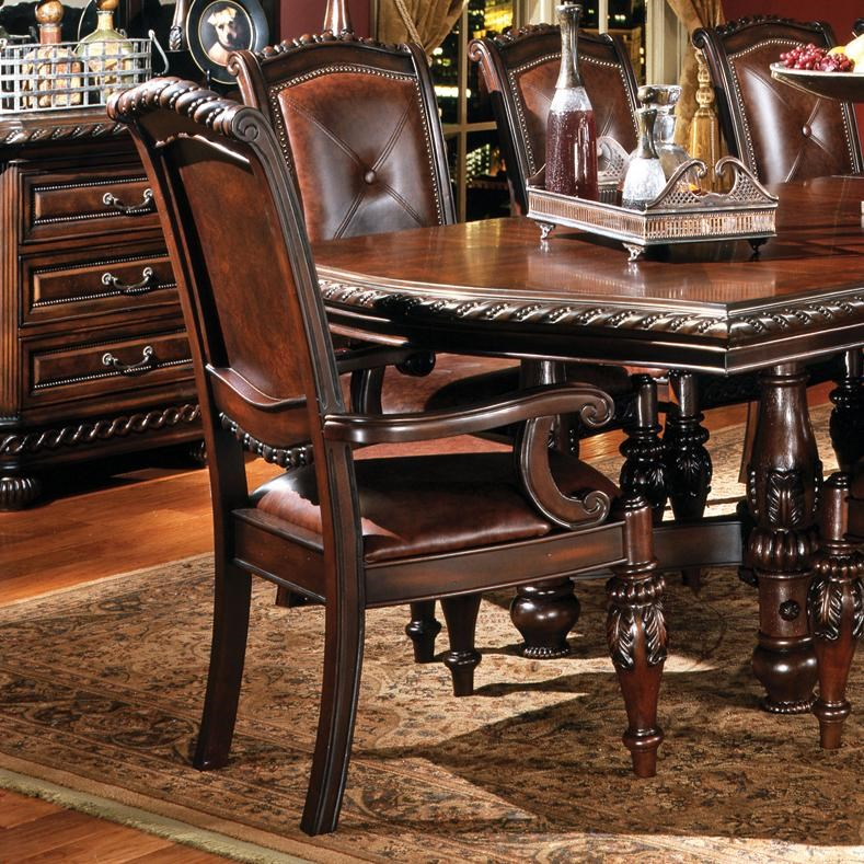 Steve Silver Antoinette Ay600a Traditional Upholstered Dining Arm Chair Northeast Factory Direct Dining Arm Chairs