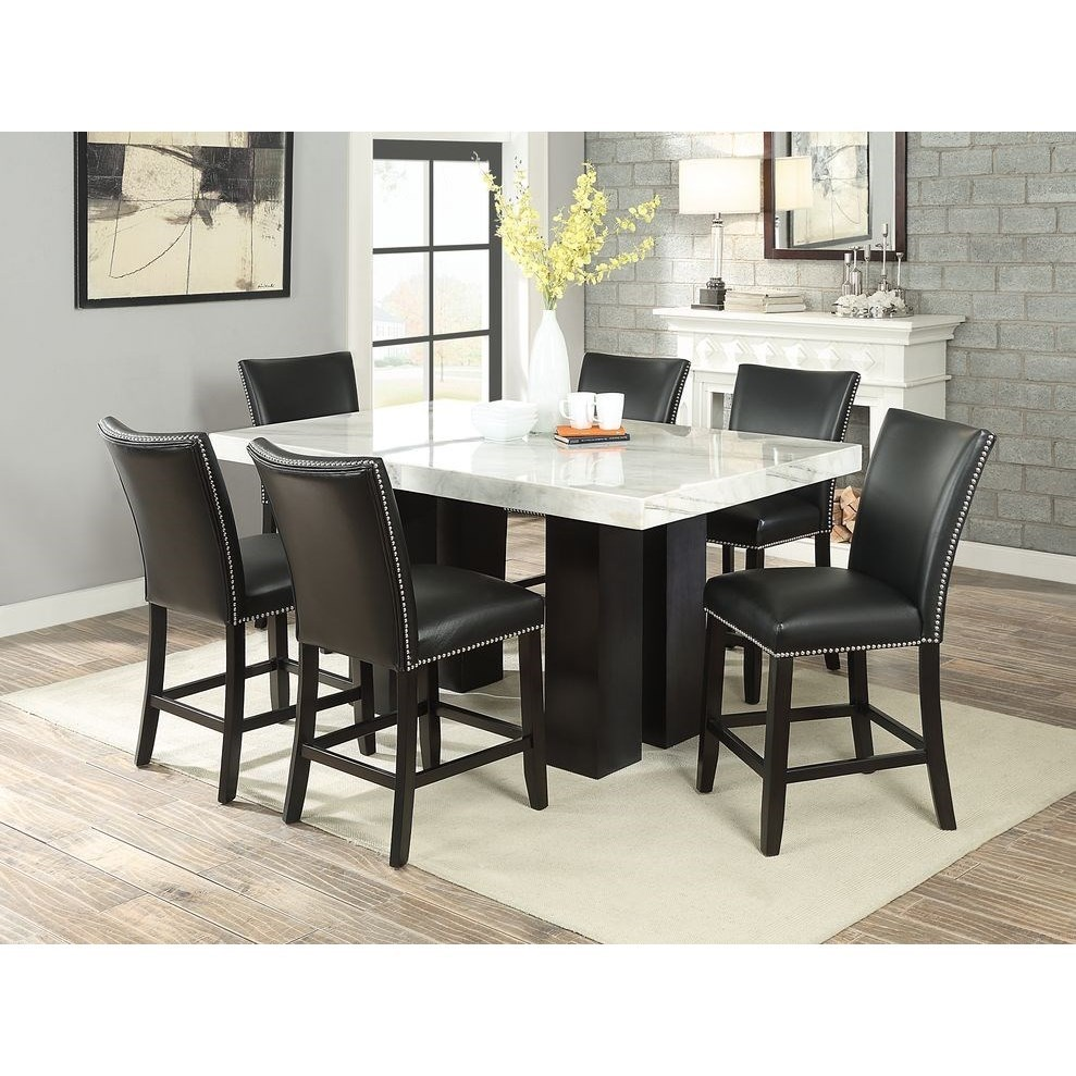 Steve Silver Camila Rectangular White Marble Counter Height Dining Table Wayside Furniture Pub Tables