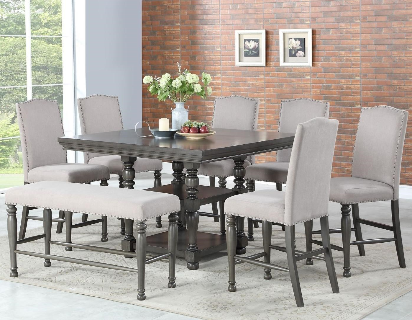 Steve Silver Caswell Eight Piece Traditional Counter Height Dining Set With Bench Wayside Furniture Dining 7 Or More Piece Sets