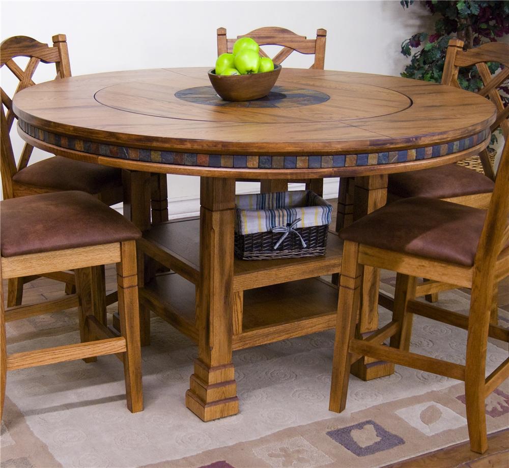 Sunny Designs Sedona Adjustable Height Round Table W Lazy