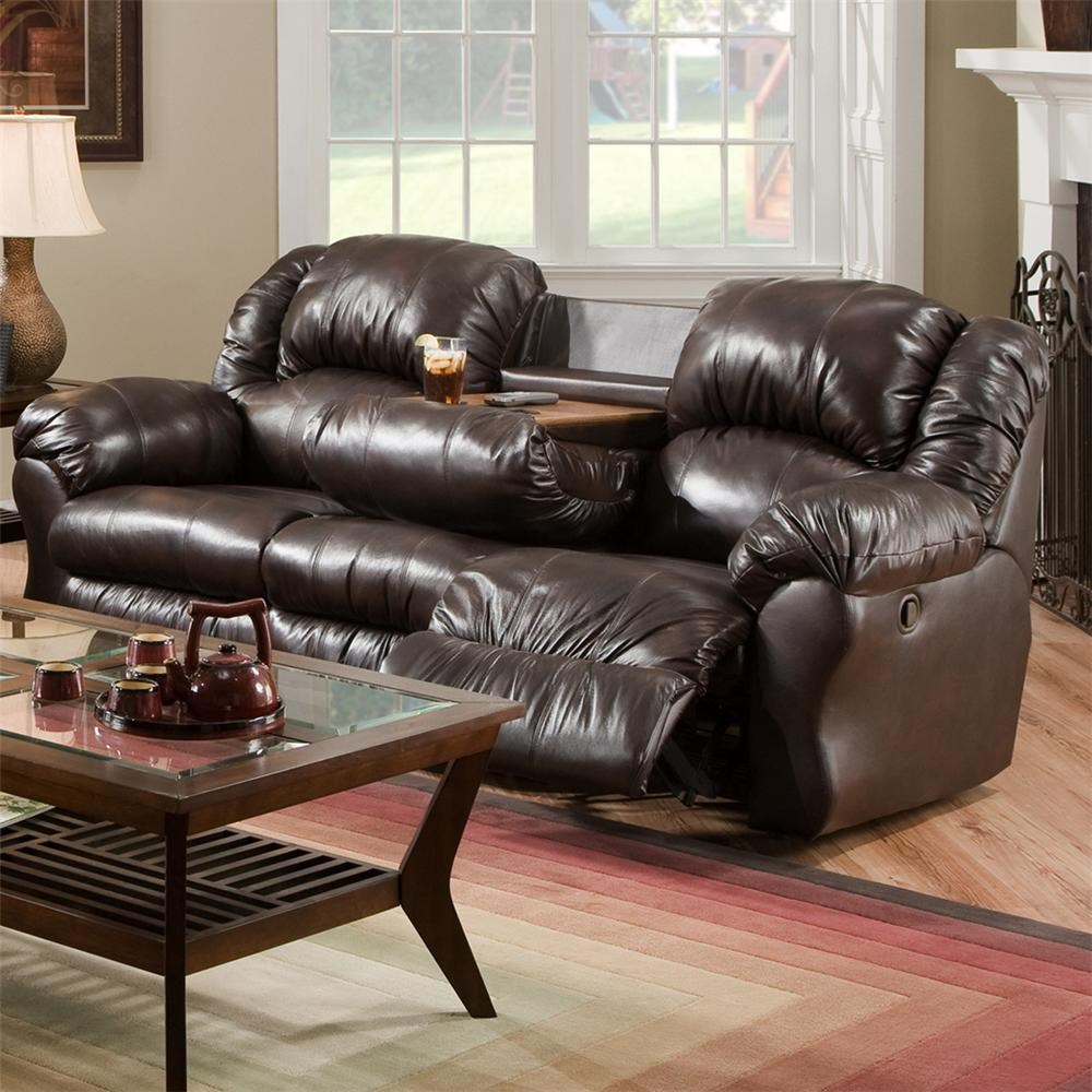 925 Inch Reclining Sofa With Built In Fold Down Tray Table 691 By Franklin Wilcox Furniture