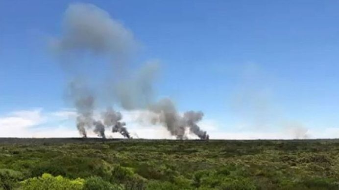 This photograph taken by a hiker shows seven different ignition points for the fire in the Royal National Park.