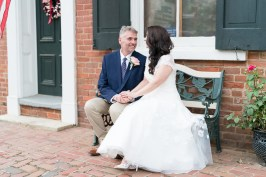 Bride and groom photographed in historic Waterford during a Loudoun County wedding by Erin Julius of Imagery by Erin.