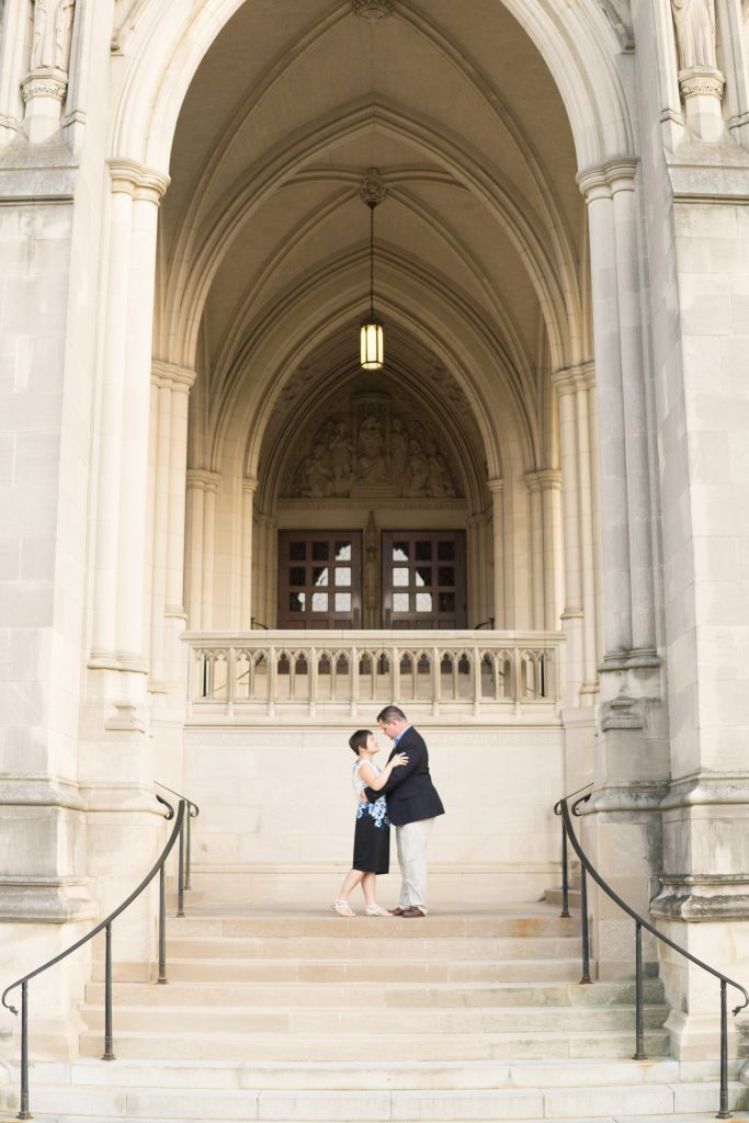 A couple outside the Washington National Cathedral for their engagement session.
