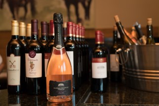 An array of Virginia wines served during a wedding at Hermitage Hill Farm in Waynesboro, Virginia.