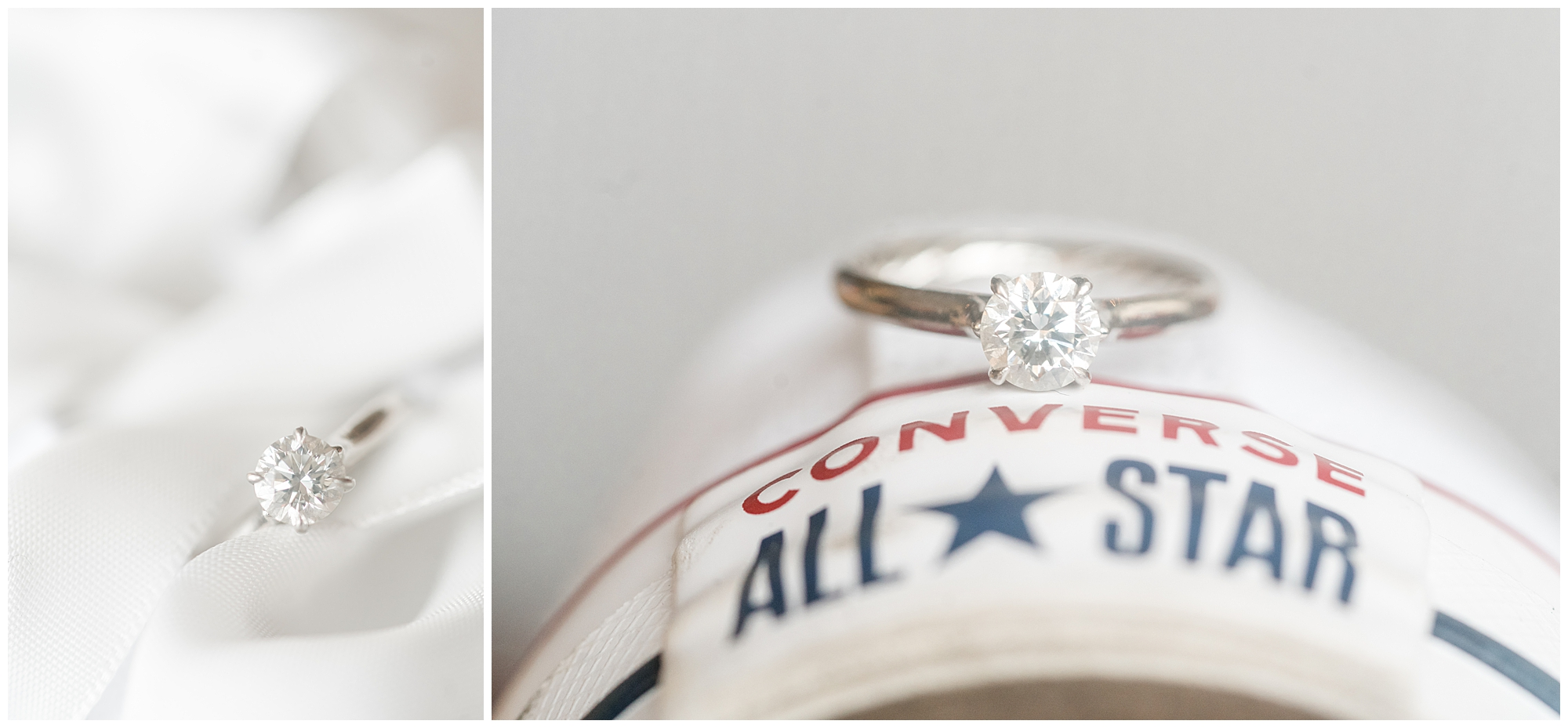 A David Yurman diamond engagement ring photographed against a white Converse sneaker