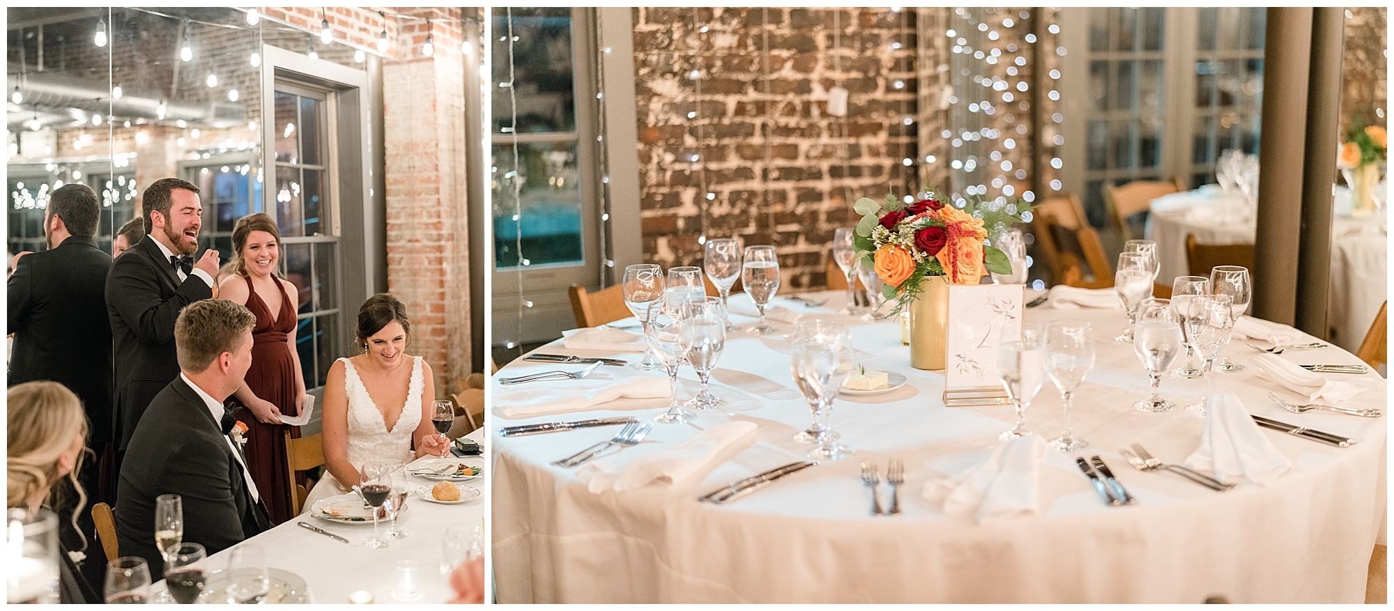 In one photo, a best man and maid of honor give a speech. In the second photo, a table is laid out with a white tablecloth during a Washington DC wedding.