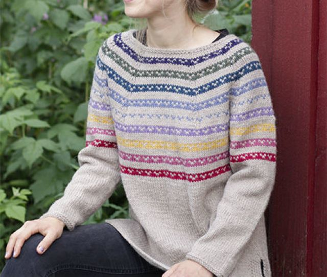 Womens And Teen Girls Sweater Rainbow Hugs Free Pattern Split In Sides Stripes Round Yoke