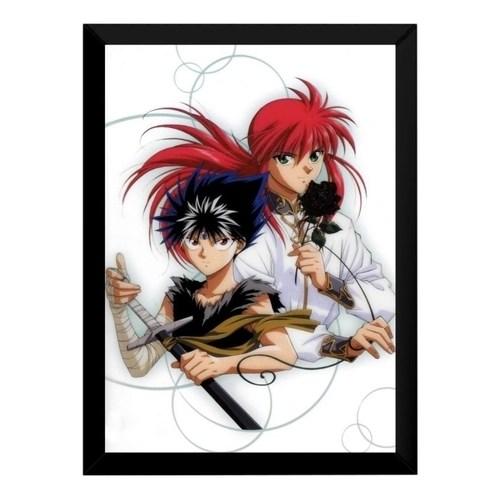 quadro yu yu hakusho kurama hiei anime poster moldurado