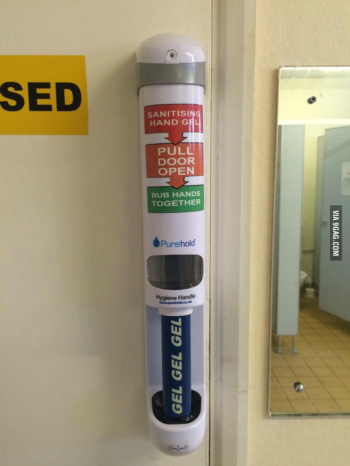 This Door Handle Sanitizes Your Hands 9GAG
