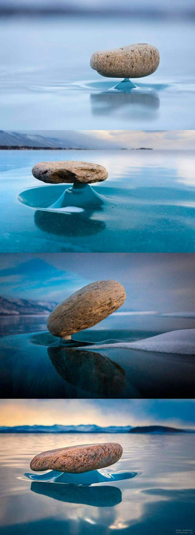 Rocks on the lake Baikal get heated from the sunlight every now and then  and melt the ice beneath. After the sun is gone, the ice turns solid again  thus creating a