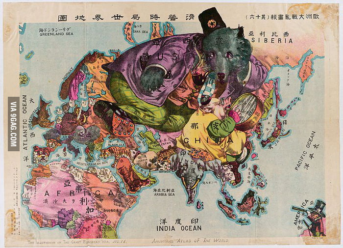 A humoristic Japanese world map in the 1900s   9GAG A humoristic Japanese world map in the 1900s