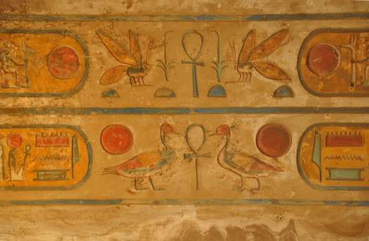 Hieroglyphs, hypostyle hall (wall painting)