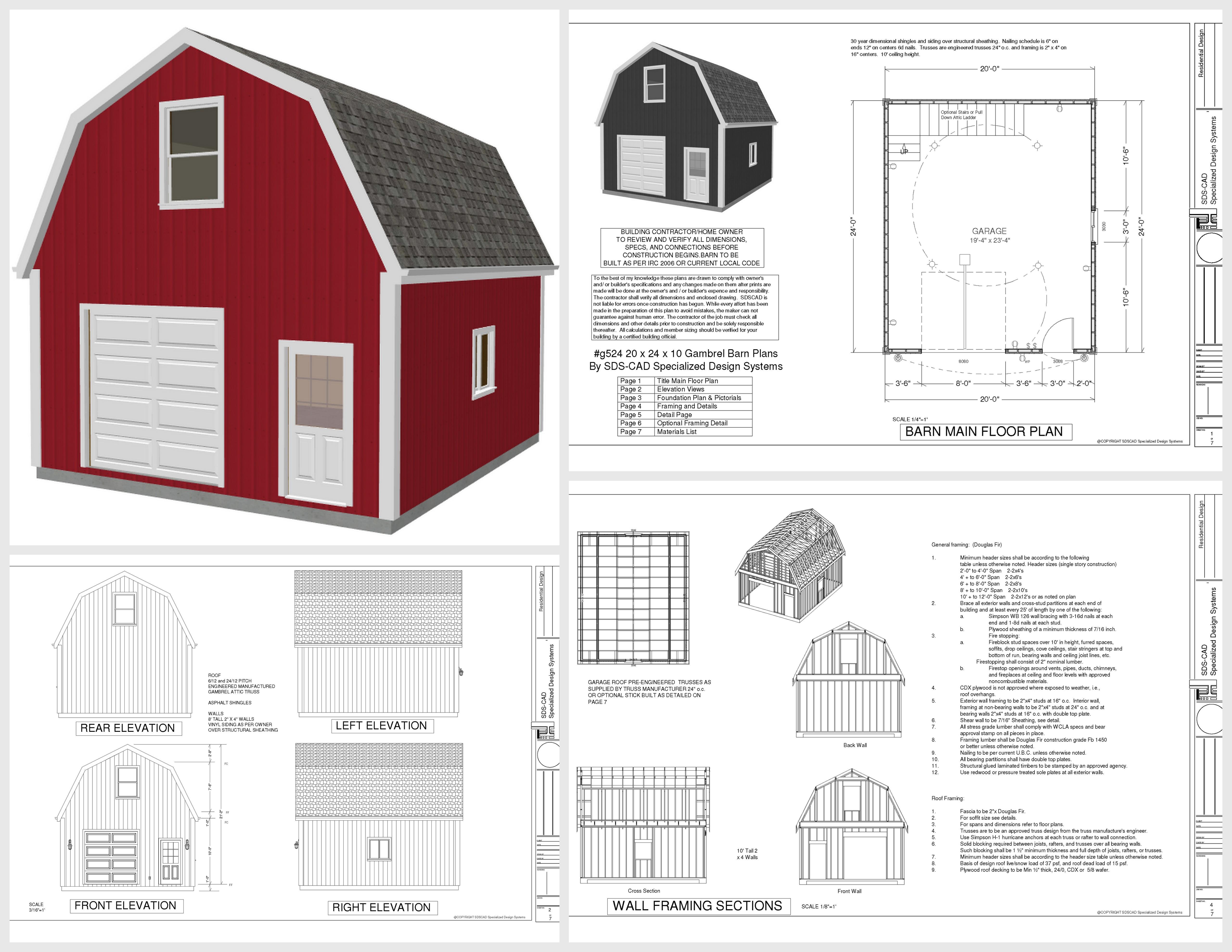 16 X 24 Gambrel Cabin Plans