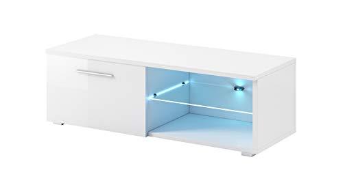 e-Com - Mobile TV Comodino per TV'SAMUEL' Con LED blu - 120 cm - Bianco