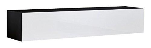 muebles bonitos Mobile TV sospeso Design Forli XL Nero Bianco - Larghezza: 160cm x Altezza: 30cm x...