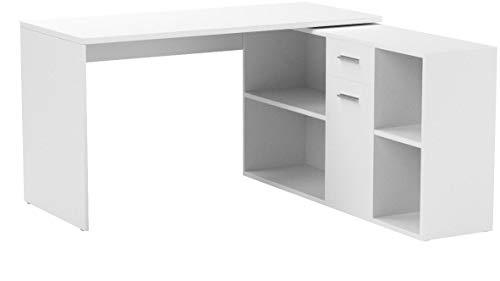 RICOO Schreibtisch WM081-W Holz Hell Weiß | Winkelkombination Arbeitstisch Computer Tische Office Table Bürotisch Computertisch Gaming Eckschreibtisch Organizer Akten Schrank Lowboard