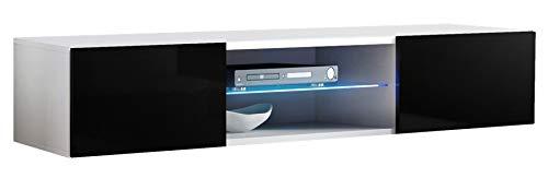 muebles bonitos Lettiemobili -Mobile TV sospeso Design Tibi Bianco Nero con luci LED - Larghezza:...