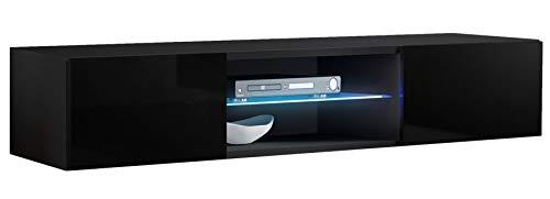 muebles bonitos Lettiemobili -Mobile TV sospeso Design Tibi Nero con luci LED - Larghezza: 160cm x...