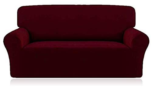 Home Comfort Copridivano 1 2 3 4 Posti Copridivano Copridivano Tessuto Elastico Protettore Divano, Rosso Vinaccia, Two Seater
