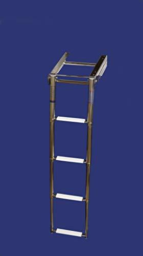 Saarwebstore Badeleiter für Badeplattform 3&4 Stufen Teleskopleiter klappbar Bootsleiter NIRO Größe 3 Stufen