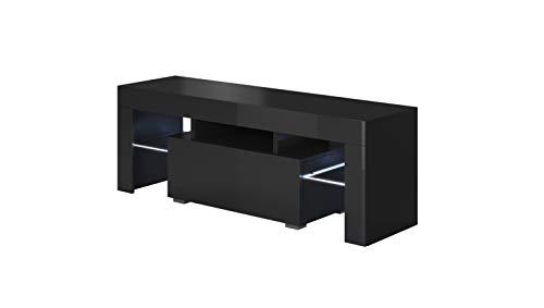 muebles bonitos Mobile TV Modello Elio (130x45cm) Colore Nero con LED RGB