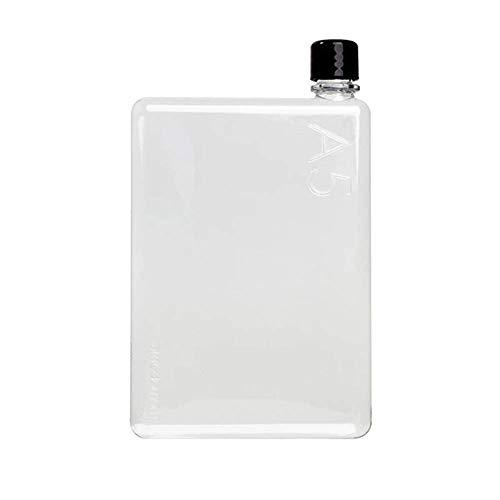 Memobottle Borraccia Portatile per Sport, Palestra, Fitness, Viaggio - Bottiglia di plastica Riutilizzabile - Bottiglia Piatta BPA Free - Include Tappo Nero e Bianco