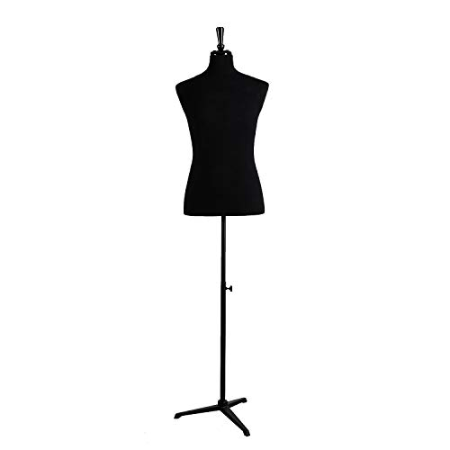 Wowell Male Dress Form Torso with Black Wood Stand and Jerseys