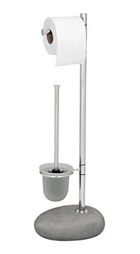 WENKO 19494100 Stand WC-Garnitur Pebble Stone Grey - WC-Bürstenhalter, Stahl, 23,5 x 70 x 19 cm, chrom