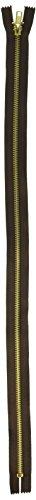 "Coats Thread & Zippers F2414-56B Fashion Metal Brass Closed Bottom Zipper, 14"", Cloister Brown"