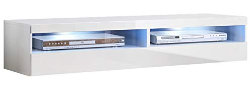 muebles bonitos Mobile TV sospeso Design Tobic Bianco con luci LED - Larghezza: 160cm x Altezza:...