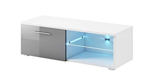Supporto per mobile TV Samuel 120 cm Bianco opaco Corpo/Frontale grigio lucido + LED BLU