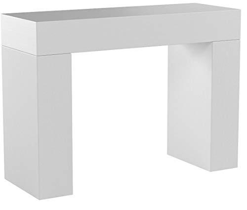 Mobili Fiver, Tavolo Consolle Evolution, Bianco Frassino, 110 x 40 x 80 cm, Nobilitato, Made in...