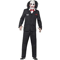 """Smiffy's Smiffys-20493XL Licenciado Oficialmente Disfraz de Saw Jigsaw, con Careta, Americana, Camisa y Falso Chaleco Color Negro XL - Tamaño 46""""-48"""" 20493XL"""