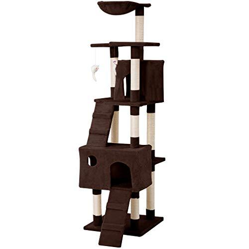 LANGRIA Arbre à Chat Griffoir Grand pour 3-4 Chats avec Hamac Confortable Plateformes d'Observation 2 Condos et 10 Troncs à Griffer en Sisal pour Jouer Griffer Grimper et Dormir (173 cm, Marron)