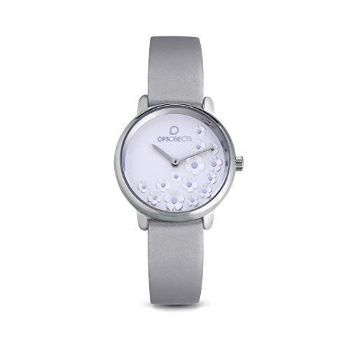 OPS!OBJECTS Bold Flower Orologio da polso Donna 32 mm, Grigio, OPSPW-553