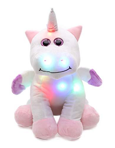 Peluche a forma di unicorno con luci a LED che cambiano colore, luce notturna per bambini,...