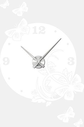 Graz Design Adhesivo decorativo para pared con diseño de mariposas con figura de clock-modern para el salón, 010 White, Brushed silver