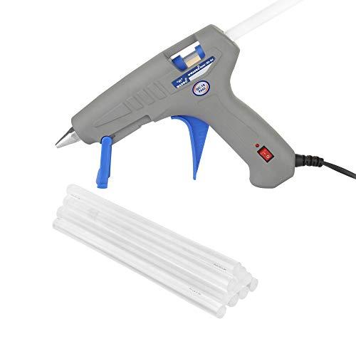 W WADRO - 100 Watt Latest Fiber Hot Melt Glue Gun Electronic PTC Heating Technology for DIY & Craft Work (Grey)(10 Big Glue Sticks)