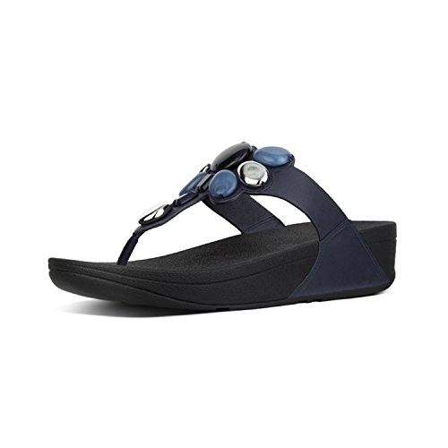 Fit Flop Honeybee Tm Jewelled Toe Thong Sandals, Infradito Donna, Blu (Midnight Navy 399), 37 EU