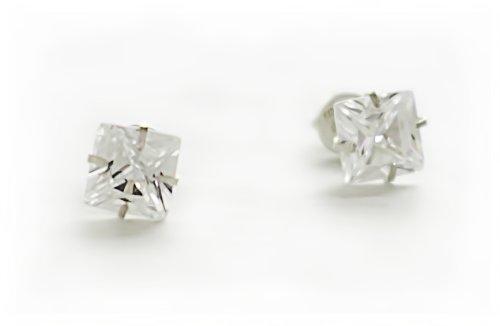 Silverwala 925-92.5 Sterling Silver Princess Cut Real Cubic Zirconia Stud Earrings For Men,Women,Children,Boys and Girls (4)