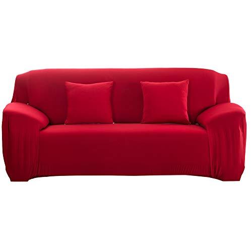 Cafopgrill Copridivano Elastico Antiscivolo per Divano Elastico sfoderabile Copridivano per Divano in Tessuto Elastico/Due/Tre/Quattro posti Rosso(3 Seater :190-230cm)