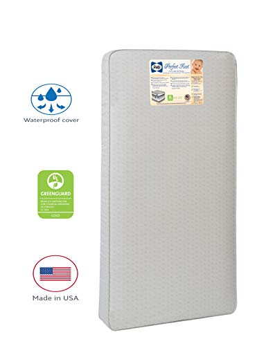 """Sealy Perfect Rest Infant/Toddler Crib Mattress -150 Extra Firm Coils, Waterproof, Wipes Clean, Hypoallergenic Cushioning, Durability Tested, 52""""x28"""""""