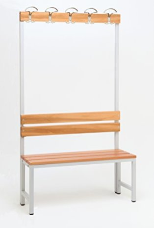 Garderoberckwand-1-seitig-1-x-Sitzbank-HxBxT170x100x30-cm-Marke-Szagato-Umkleidesitzbank-Umkleidebank-Garderobenbank-Bank