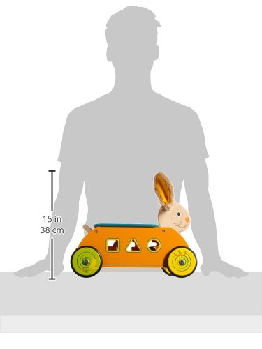 1573 Primi passi Coniglio con gioco ad incastro small foot, in legno, ruote con profilo in gomma per