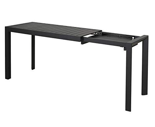 Chicreat, tavolo allungabile, alluminio, colore nero, 127-165 x 57 x 71,5 cm