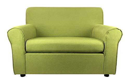 Totò Piccinni Divano 2 Posti Imbottito, con Braccioli, (L) 127x(P) 75x(A) 88 cm (Tessuto, Verde Mela)